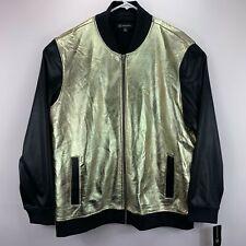 INC International Concepts Mens Metallic Sparkle Bomber Jacket Black Gold 2XL