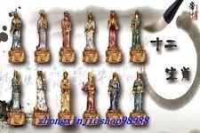 Sign Regius 100% Pure Bronze 24K Gold cloisonne twelve zodiac animals Statue Set