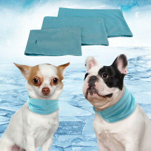 Soft Dog Ice Bandana Scarf Summer Cooling Collar for Small Medium Large Dog Blue