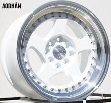 AODHAN AH01 15x8 4x100 / 4x114.3 +20 White Machined Lip (PAIR) wheels