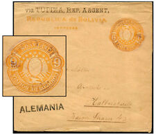 BOLIVIA 6¢ PSW USED TO GERMANY H&G E2