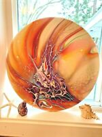 Painting Abstract Acrylic Pour ROUND wood 16x16 NEW year Flowers Art Signed Sun