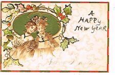 1907 Asw Serie Flirt #1089 Victorian Girls Happy New Year Postcard