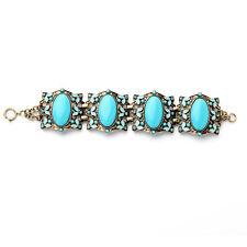 Bracelet Golden Art Deco Enamel Turquoise Blue Retro Vintage Original CT5