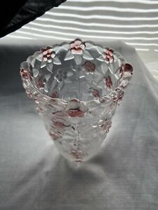 "Mikasa Carmen Rose Clear Glass Flower Vase Pink Roses Pansy's Vintage 9 1/2"""