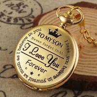 Gold Carving Quartz Movement Pocket Watch Fob Chain Vintage Roman Numerals Retro