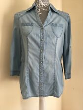 Ladies Blue Fitted Chambray Denim Shirt With Studs On Shoulders By M&Co Size 10