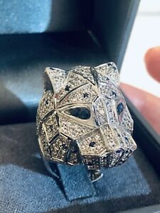 BEAUTIFUL PANTHER HEAD SAPPHIRE & SILVER COCKTAIL RING