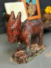 ANTIQUE/VINTAGE INDIAN WOODEN, SHIVA's BULL NANDI. MAROON, SILVER and TURQUOISE