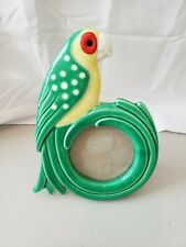 """Fitz And Floyd 1979 Parrot Handpainted Picture Frame 7.5"""" tall"""