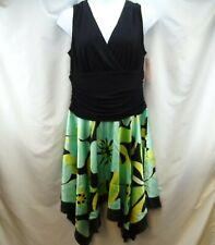 Women's Dress Size 18 Sleeveless Dress Barn Black Yellow Teal Flare Handkerchief