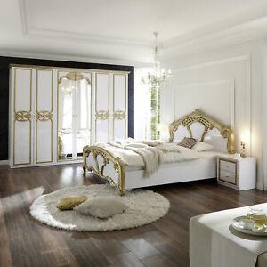 Schlafzimmer Set Claudia 4-tlg. weiß Lack gold Bett Schrank Nachtkommode Barock