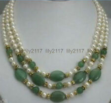 """Pretty! 3 rows 7-8mm cultured white pearl and Emerald necklace 17-19"""""""