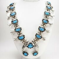 Native American Navajo Sterling Silver Turquoise Squash Blossom Necklace Signed