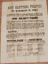 MANIFESTO ELETTORALE LUIGI SOLIDATI NORCIA 1883 TERREMOTO CORAZZINI MASSENZI