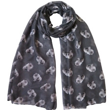 More details for pomeranian dog ladies scarf grey & taupe lovely gift idea fast dispatch