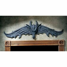 Grey Stone Dragon Wall Sculpture In Out Door Gothic Medieval Home Garden Decor