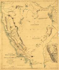 1849 Map California Gold Mining Regions Mines Wall Art Poster Vintage History