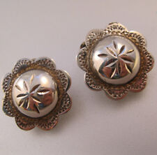 Native American Button Earrings Sterling Silver Clip On Vintage Jewelry