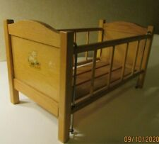 Vintage 1950's Wooden Baby Doll drop side Crib bed toys LAMB Litho CUTE