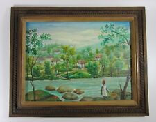 Emmanuel Dostaly Folk Art Rural Haitian Village Landscape Oil Painting on Canvas