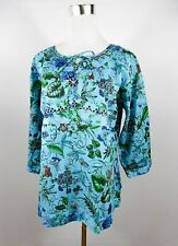 Women's Vtg Indian Blue Embroidery Cotton Floral Free size Tunic Blouse BD87