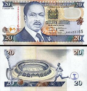 Kenya 20 Shillings 1996, UNC, P-35a2, Black Signature
