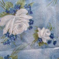 276cm x 95cm Vintage Cotton Crepe Fabric 1960s White Rose on Blue Retro Floral