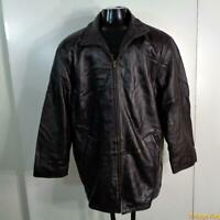 WILSONS Soft Lambskin Leather JACKET Coat Mens Size L Brown insulated zippered
