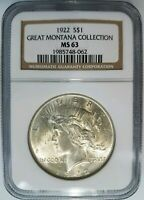 1922 Silver Peace Dollar NGC MS 63 Great Montana Collection Pedigree Hoard