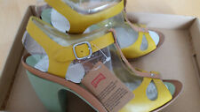 Camper Shoes Olivia Open Toe Heels Pumps Yellow Leather Size 36 BNIB