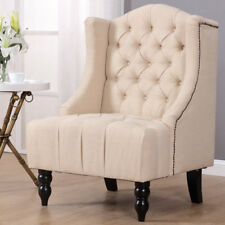 Modern Tall Wingback Tufted Accent Armchair Fabric Vintage Chair Nailhead Beige