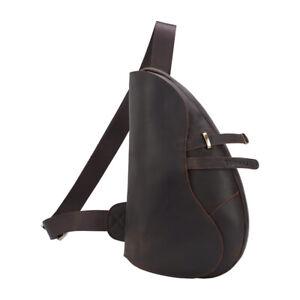 Men Leather Sling Bag Shoulder Bag Chest Pack Sport Bag Travel Bag Backpack