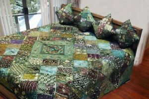 5 PC KING INDIA VINTAGE SARI BEADS SEQUIN BLANKET THROW QUILT COVERLET BEDSPREAD