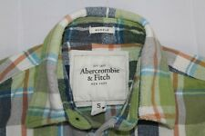 ABERCROMBIE & FITCH Men's S MUSCLE Green Blue Flannel Cotton Shirt