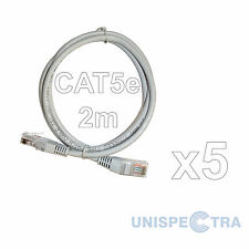 5 x 2M CAT5e RJ45 Ethernet Network LAN Cable Patch Lead - Top Quality