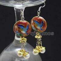 SALE 18mm Red Round Cloisonne & 6-7mm White Natural Pearl Dangle earring-ear596