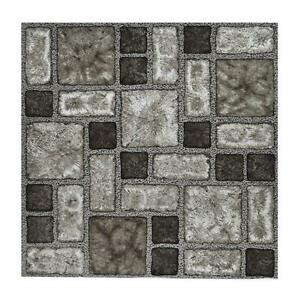 Floor Tiles Self Adhesive Vinyl Flooring Kitchen Bathroom Charcoal Stone Effect