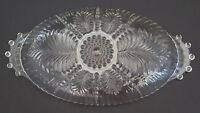 Vintage Depression Glass Oval Dish Clear Feather Fern Bubble Hobnail Relish