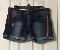 Bubblegum Juniors 11/12 Denim Shorts Distressed Embellished Tribal Gold Accents