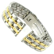 18mm Gilden Push Open Deployment Buckle Two Tone Straight End Watch Band