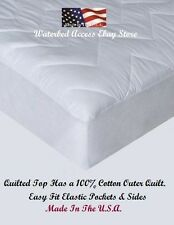 Queen Cotton Mattress Pad Best Fit for Hardside Waterbed Mattresses 60 x 84