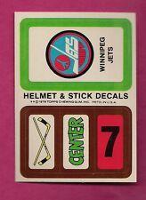 1979-80 TOPPS WINNIPEG JETS   NHL ENTRY HELMET STICK DECALS INSERT (INV# 8244)