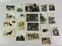 Horse Farm Rider Wagon Vintage B&W Photograph Snapshot