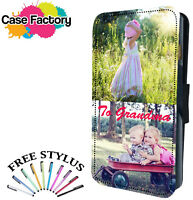 QUALITY PERSONALISED CUSTOM PHOTO TEXT GIFT LEATHER WALLET FLIP PHONE CASE COVER