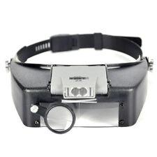 Jeweler Headband Magnifying Magnifier Loupe Glass Lens LED Light Lamp Visor Head