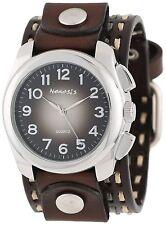 Nemesis BDT091K Men's Wide Brown Leather Cuff Band Gradient Black Dial Watch