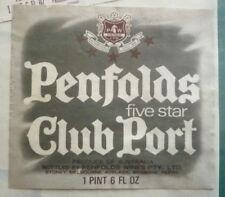 1960s AUSTRALIAN WINE & SPIRIT LABEL, PENFOLDS FIVE STAR CLUB PORT 2