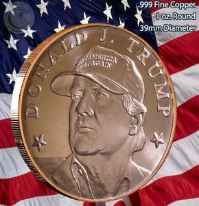 "Donald J. Trump 45th in ""Make America Great Again"" HAT 1 oz .999 Copper Round"