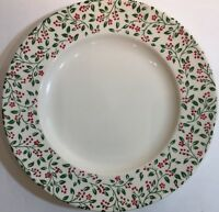 Homer Laughlin Holly Berry Dinner Plate Red Flowers & Berries On Rim w/ No Trim